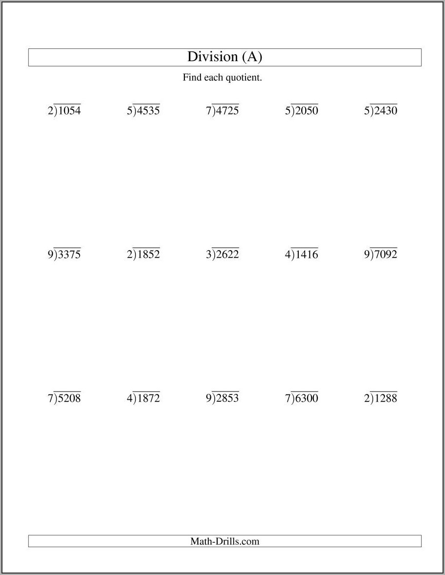 Long Division Whole Numbers Worksheet