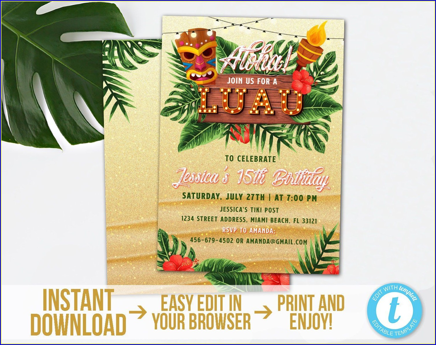 Luau Birthday Invitation Template