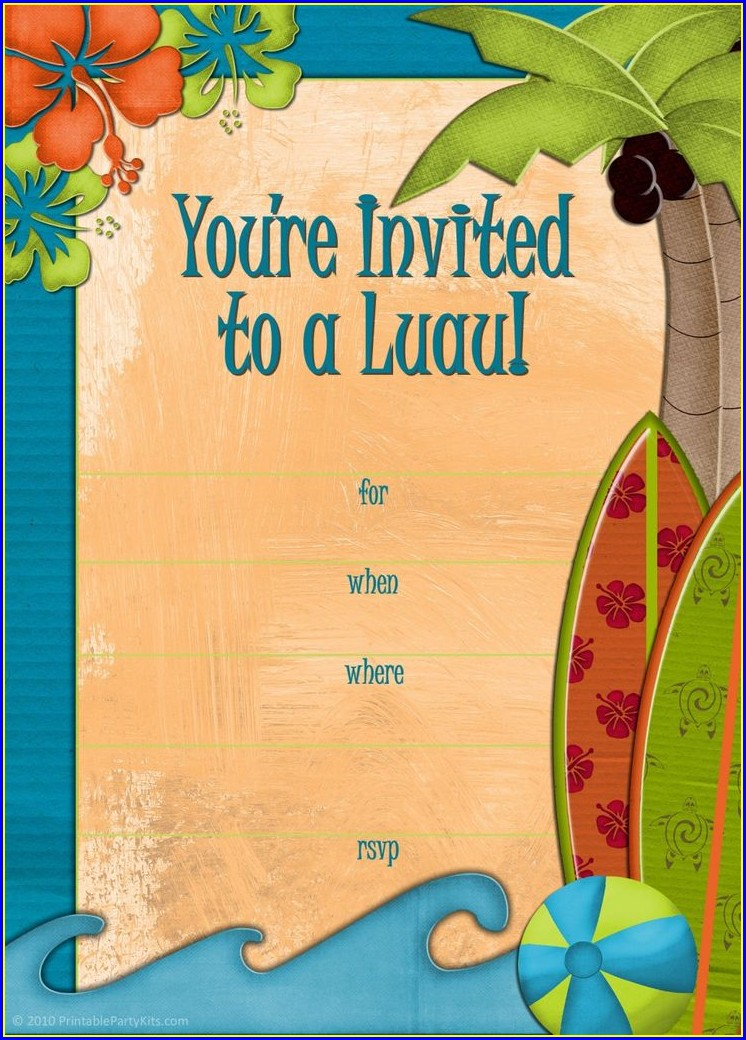 Luau Invitation Template Free