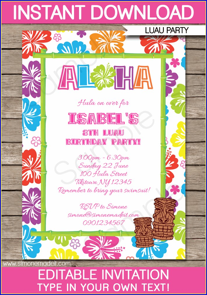 Luau Invitation Template Microsoft