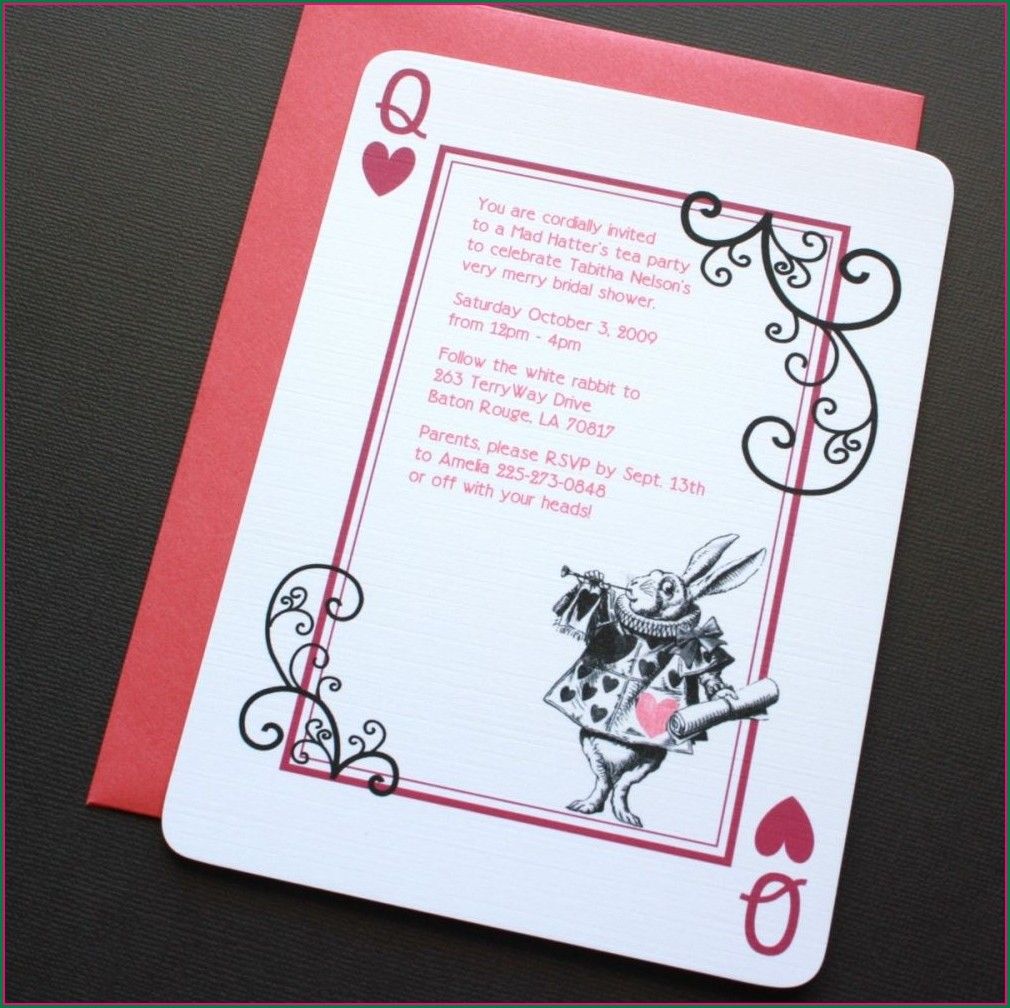 Mad Hatter Alice In Wonderland Invitation Template