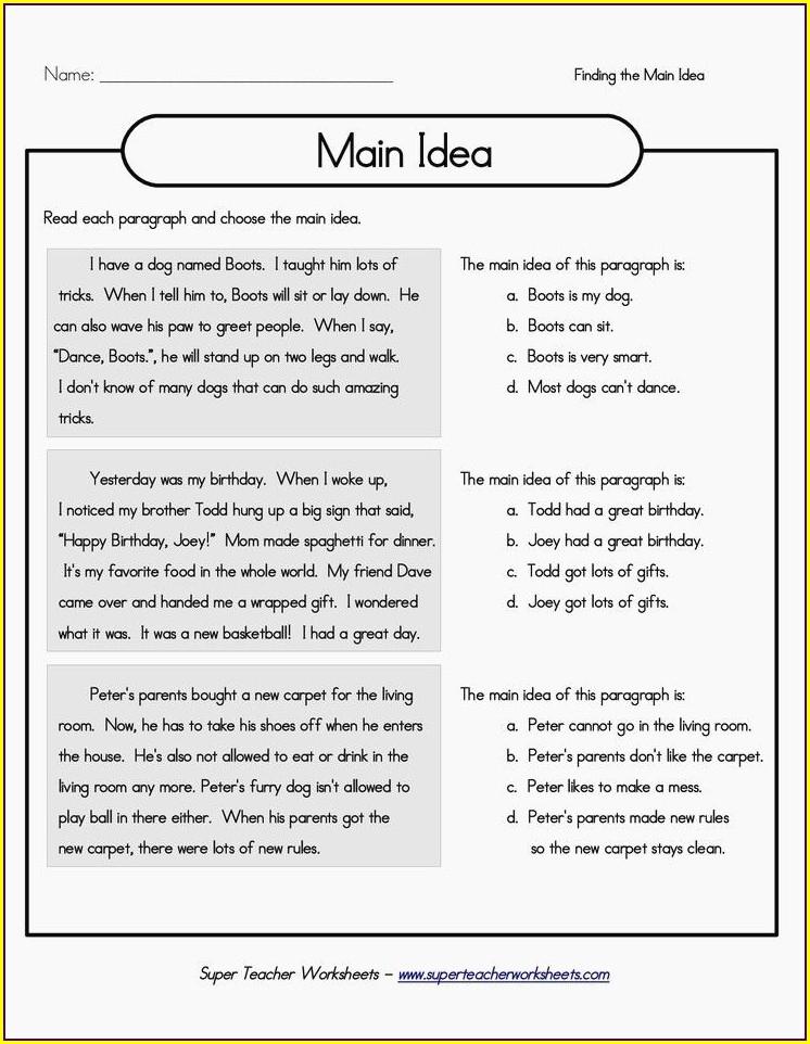 Main Idea Comprehension Worksheets First Grade