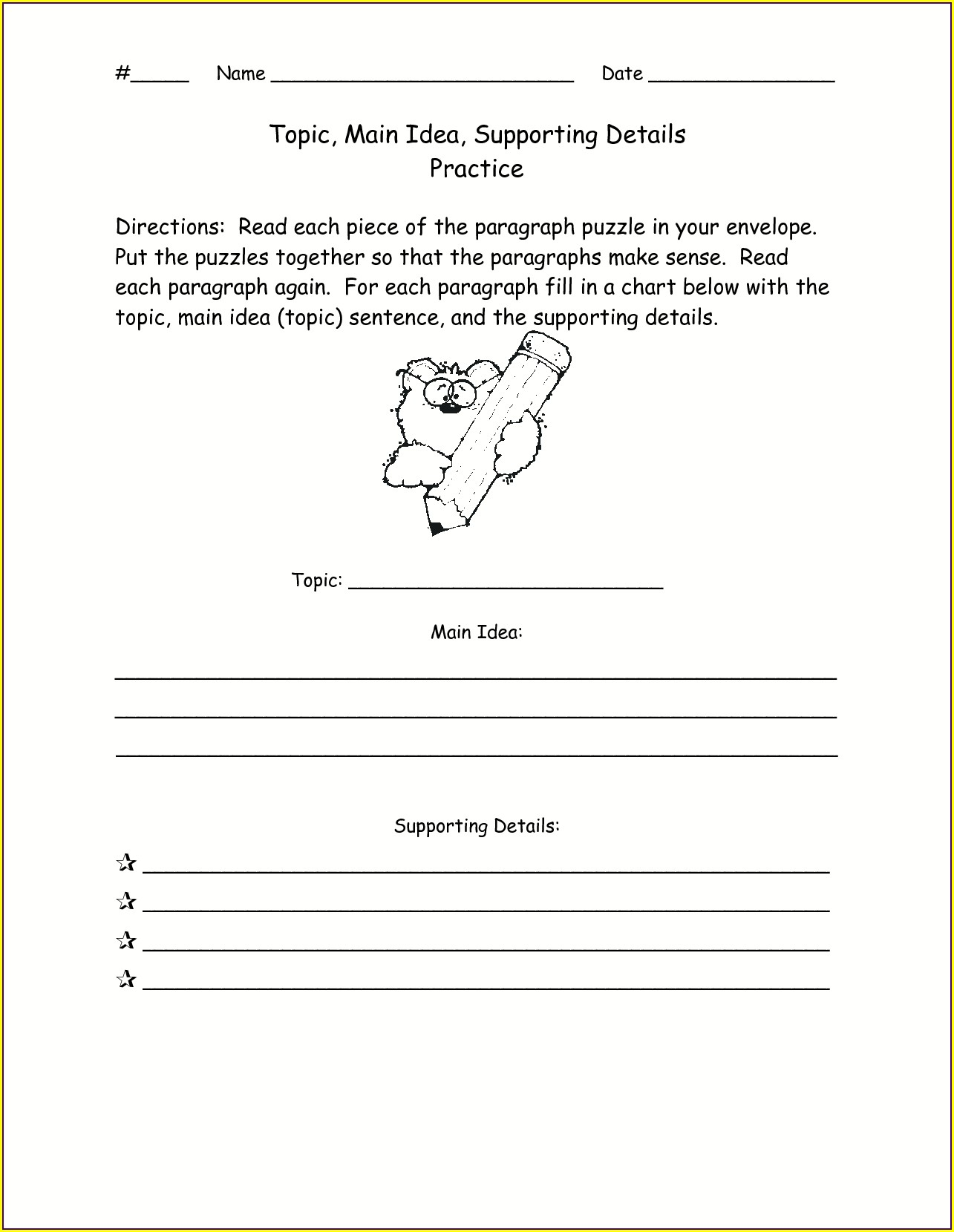 Main Idea First Grade Worksheets