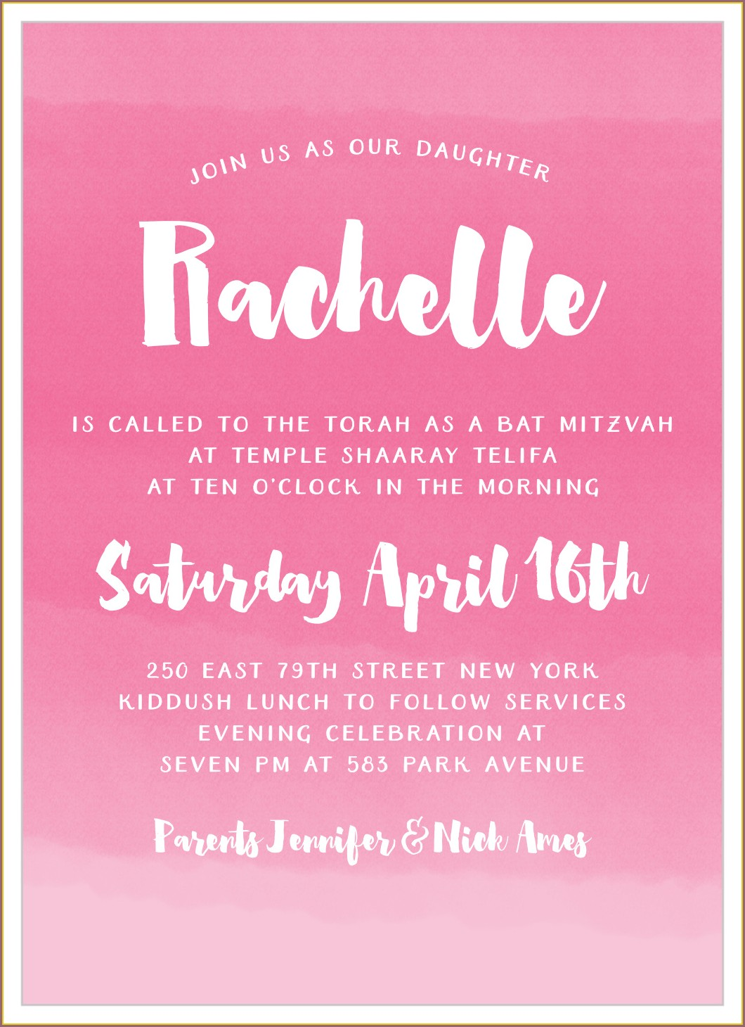Make Your Own Bat Mitzvah Invitations