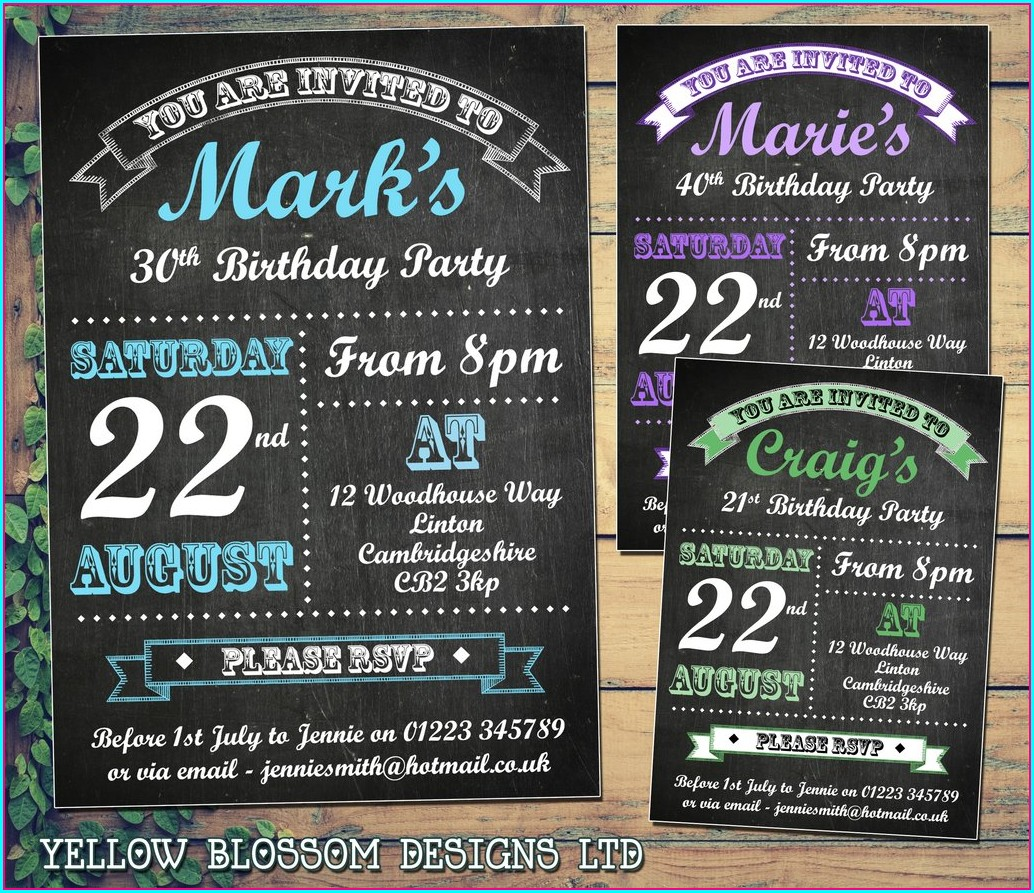 Male 30th Birthday Invitations