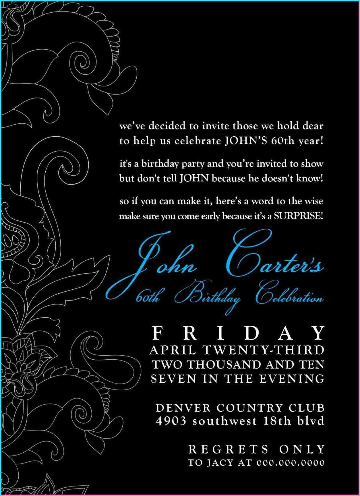 Male Free Birthday Invitation Templates For Adults