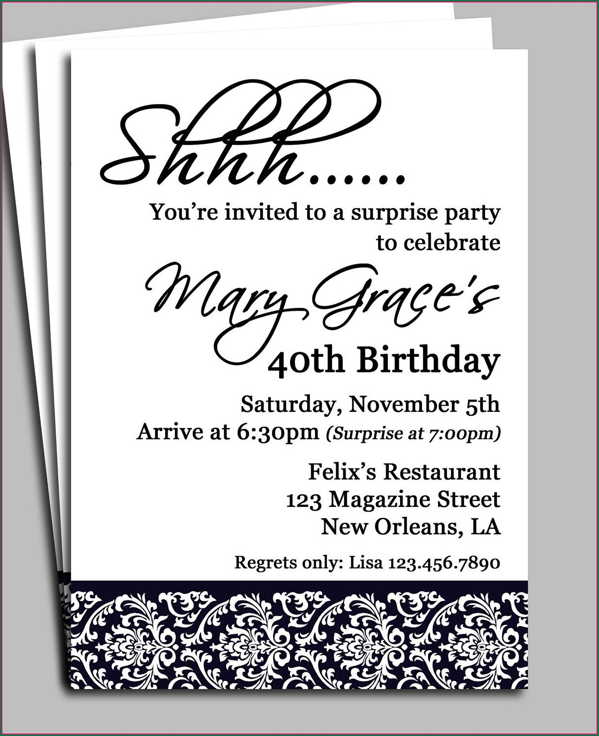 Man Surprise Birthday Invitation Wording
