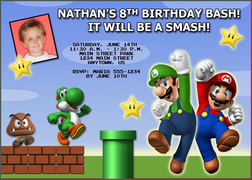 Mario Bros Birthday Invitations