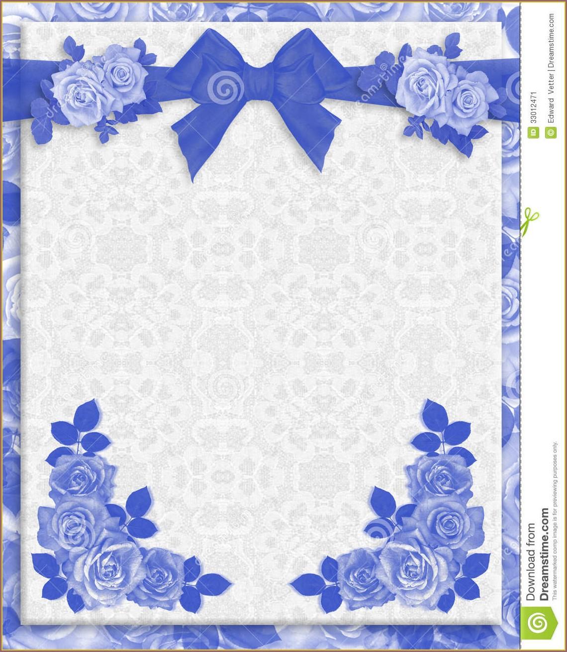 Marriage Border Royal Blue Wedding Invitation Background