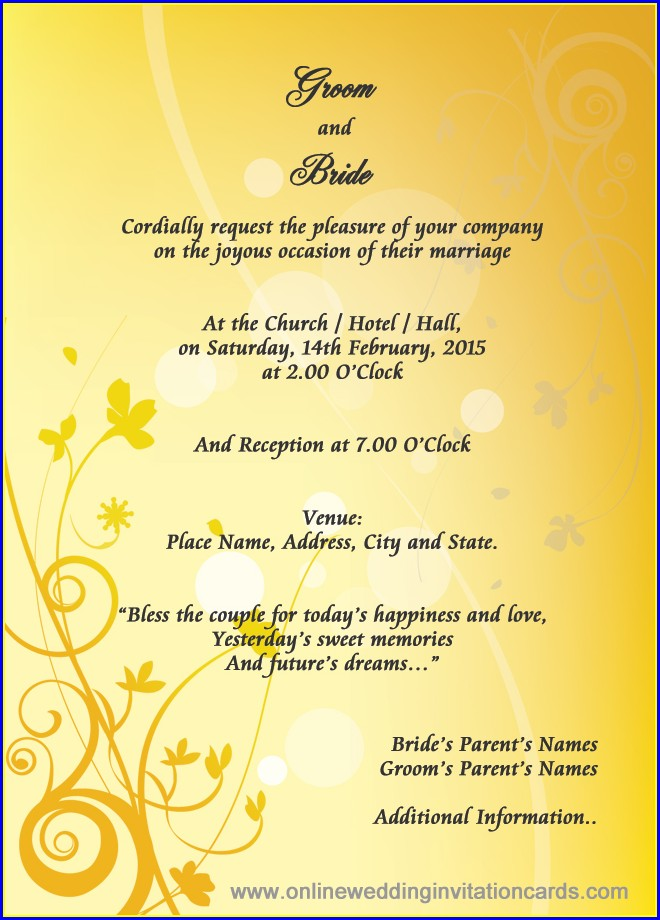 Marriage Invitation Wordings In English Language Pdf