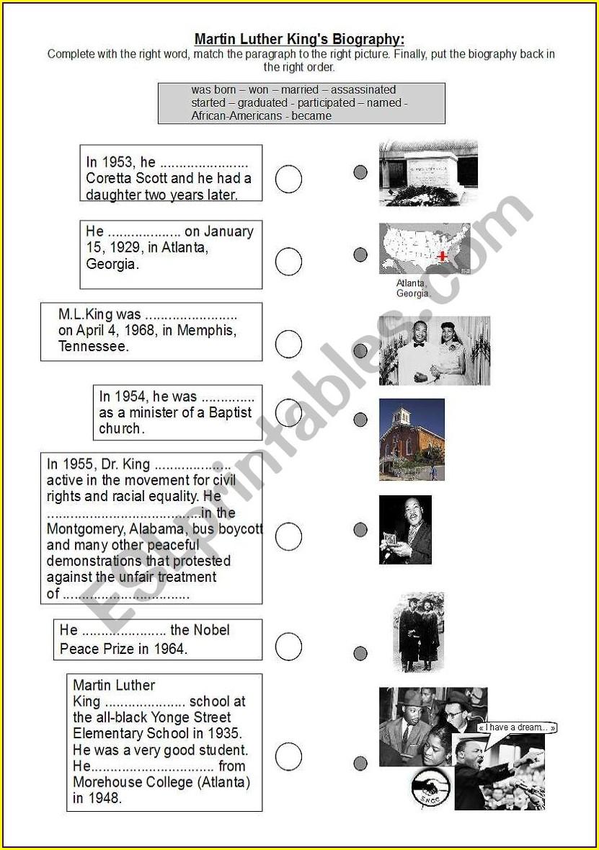Martin Luther King Jr Biography Lesson Plan