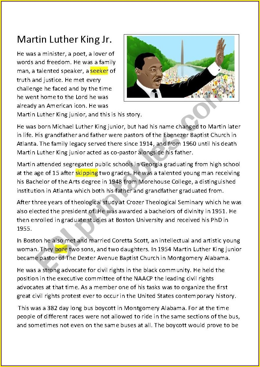 Martin Luther King Jr Worksheets Pdf