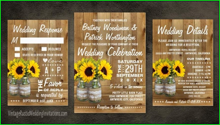 Mason Jar Sunflower Wedding Invitations