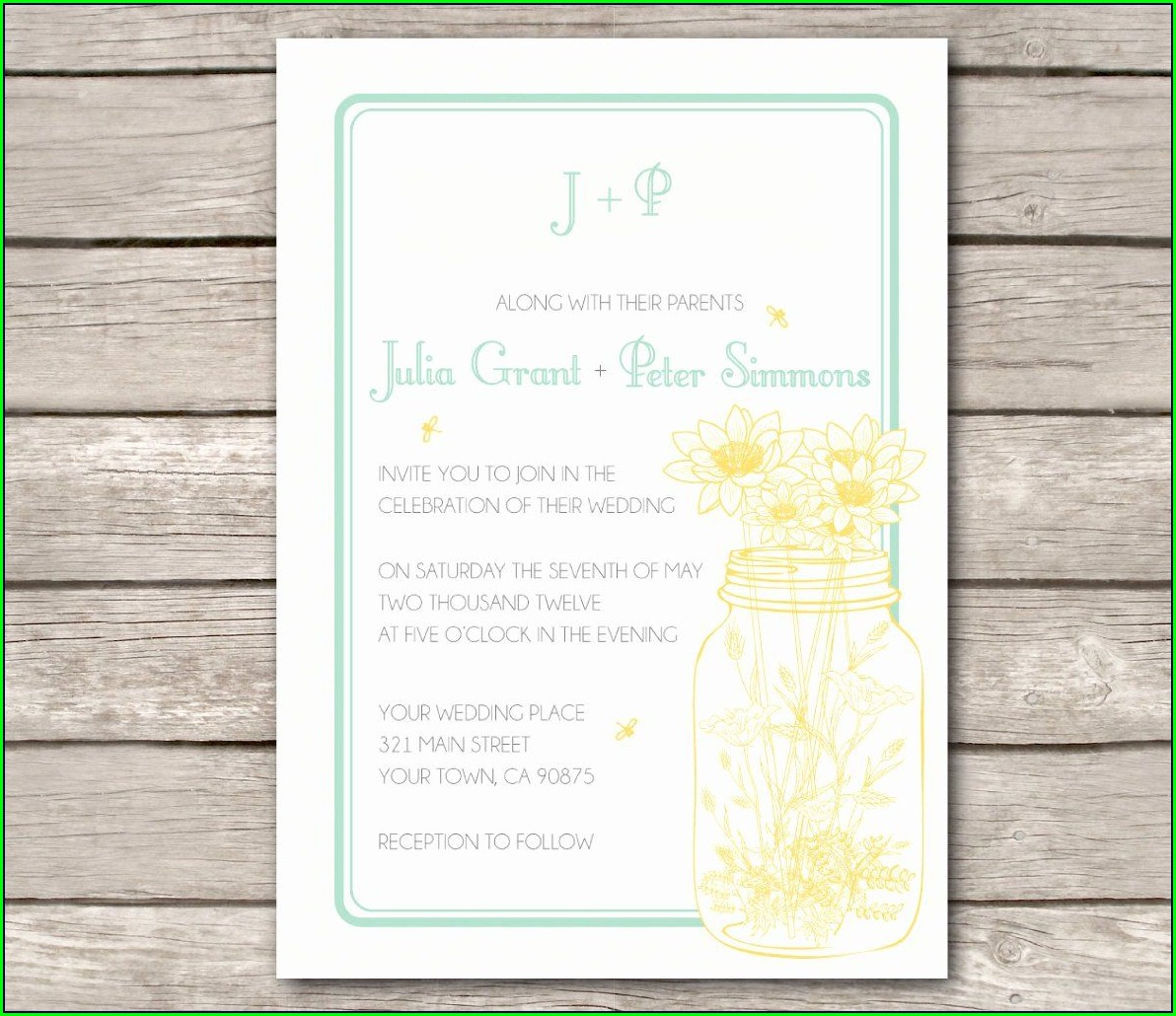 Mason Jar Wedding Invitations Template