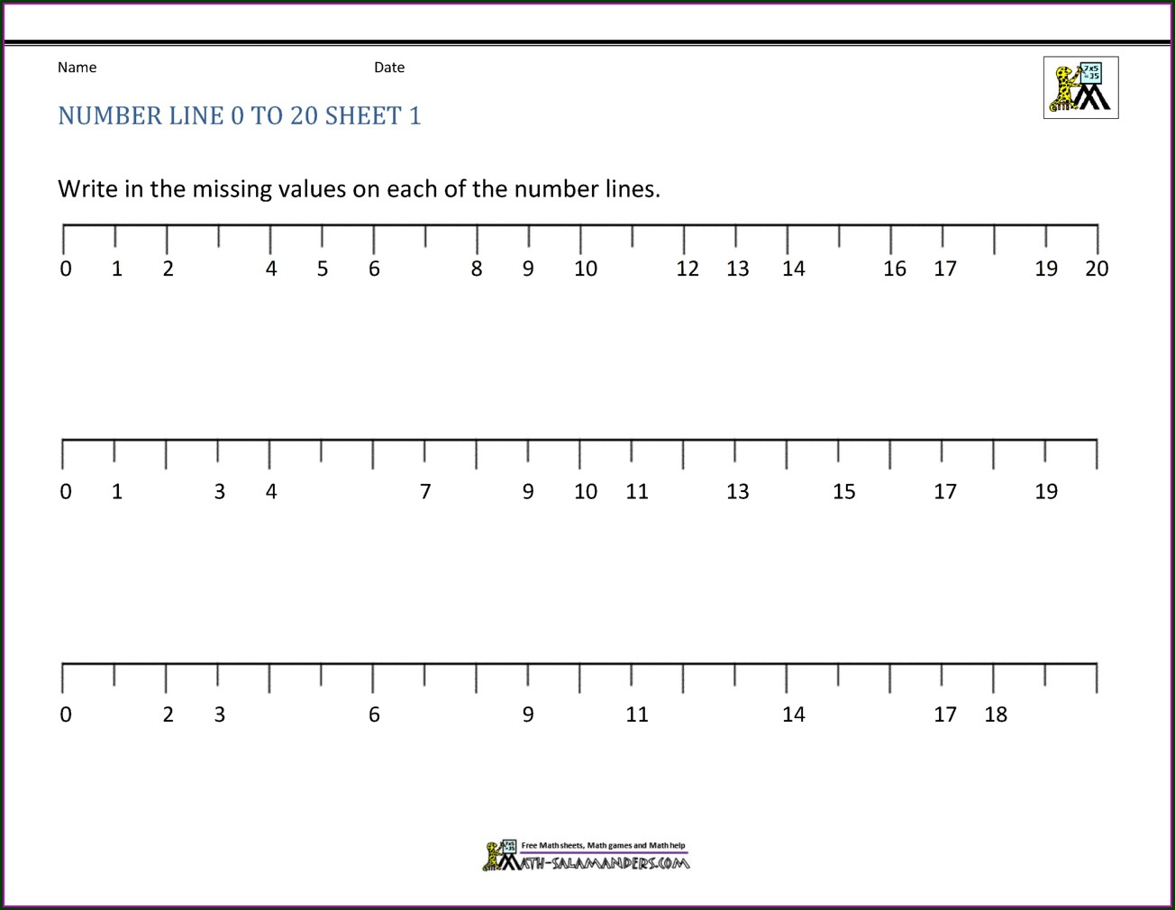 Math Addition Worksheets Using Number Line
