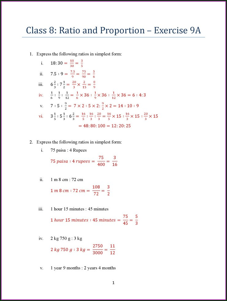 Math Proportion Word Problems Worksheets