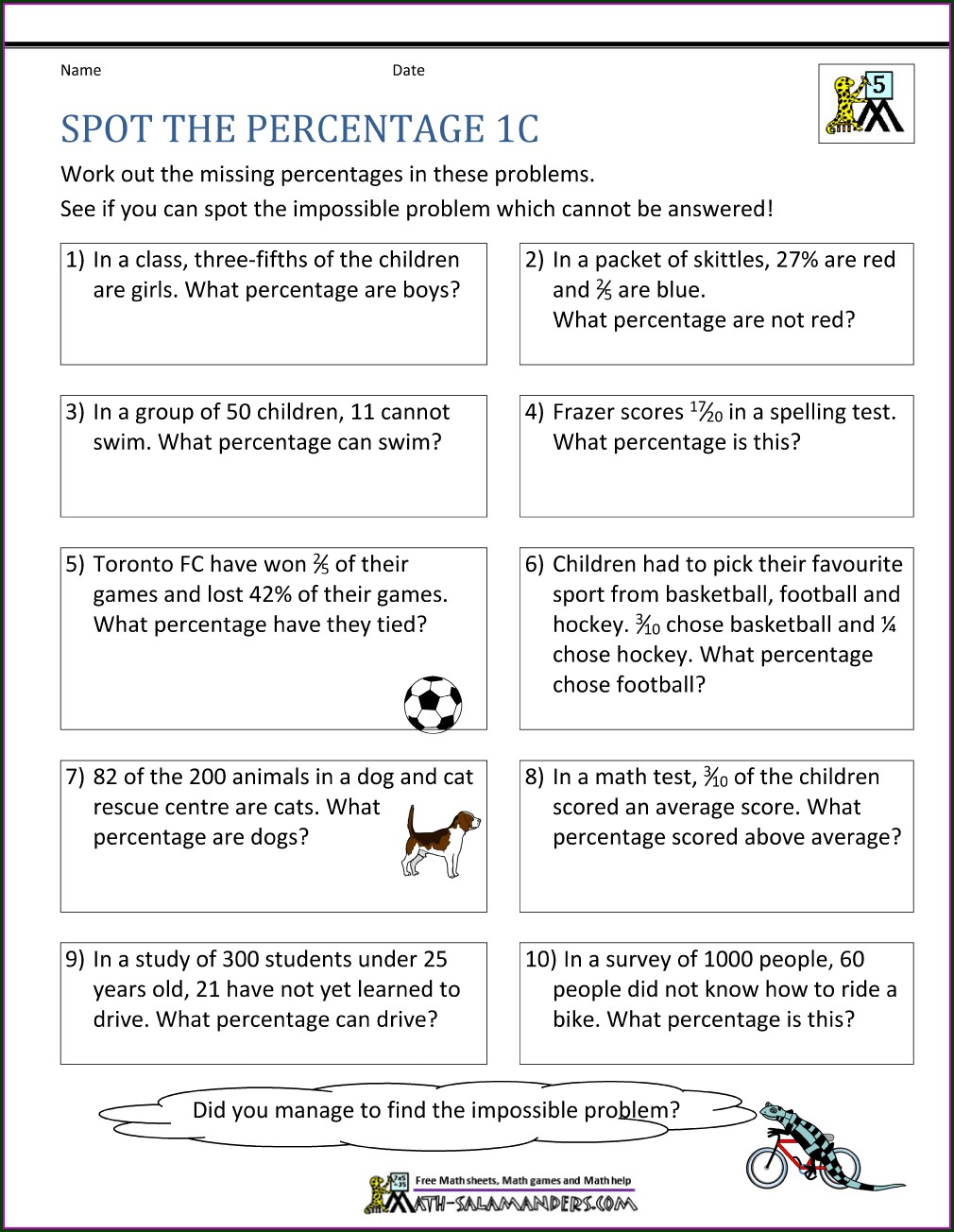 Math Word Problems With Percentages Worksheets