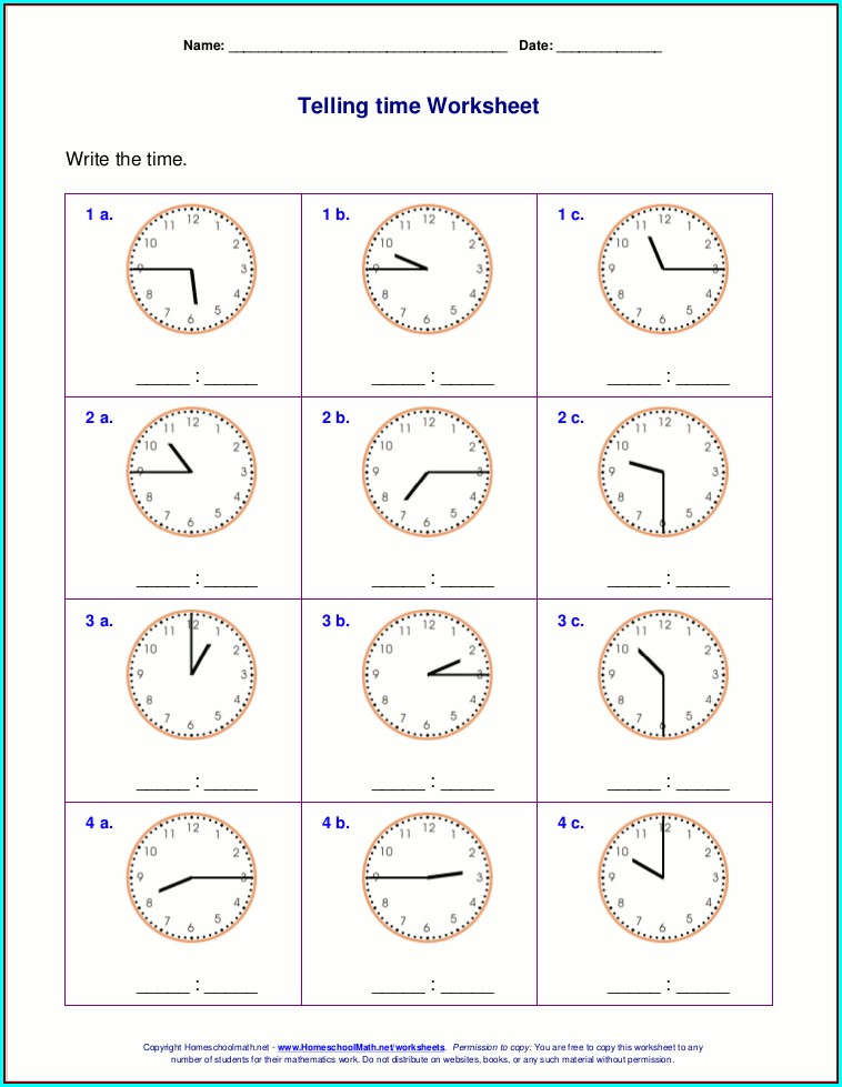 Math Worksheet Site Time