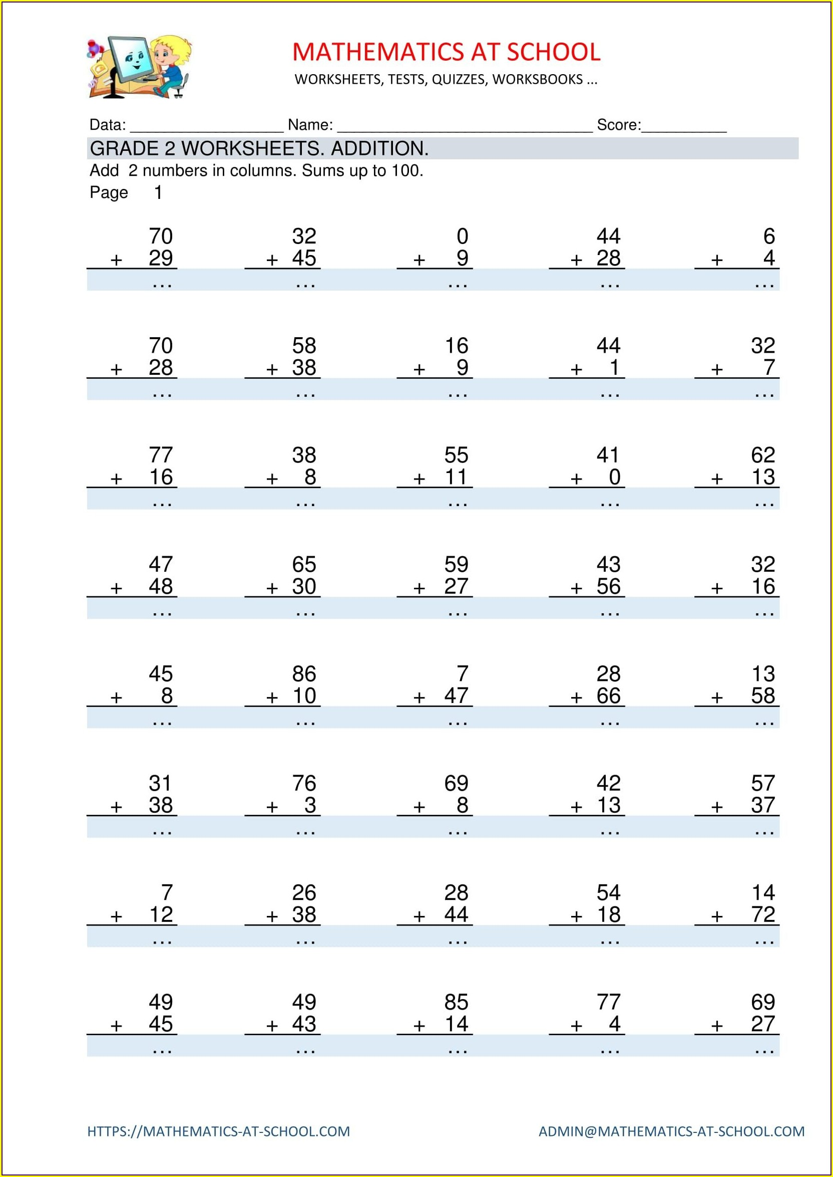 Mathematics Worksheet For Grade 2