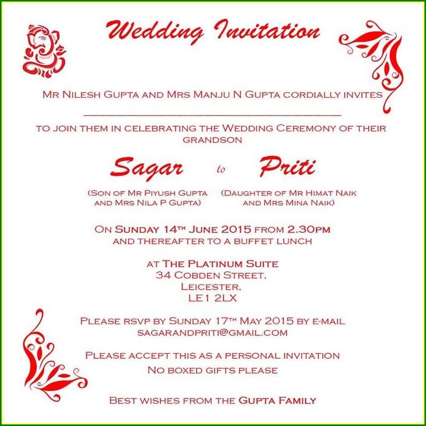 Matter Hindu Indian Wedding Invitation Wording