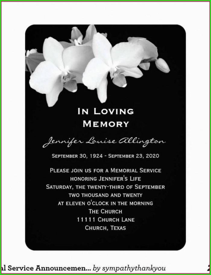 Memorial Invitation Template Free