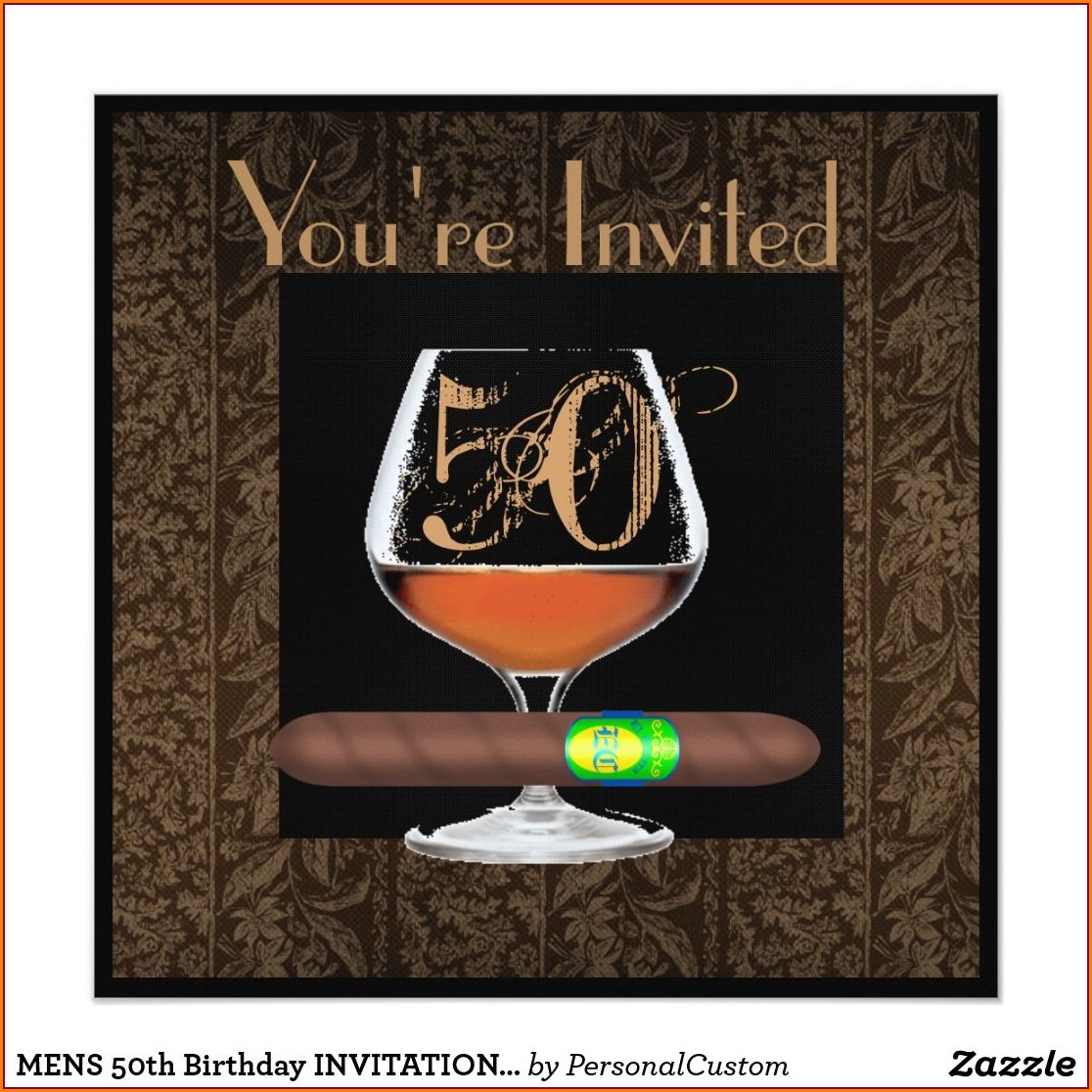 Mens 50th Birthday Invitations