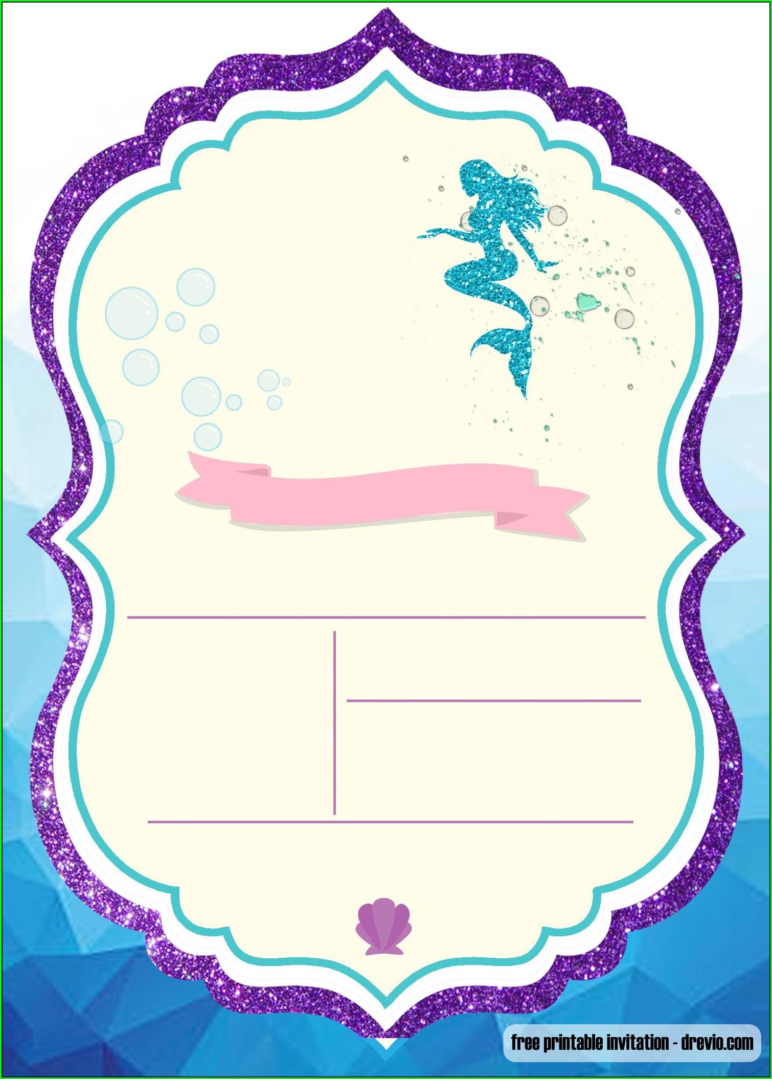 Mermaid Background Blank Mermaid Invitation Template