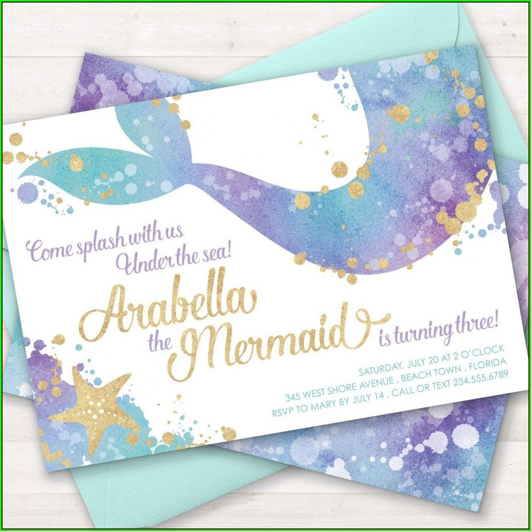 Mermaid Birthday Invitations Walmart