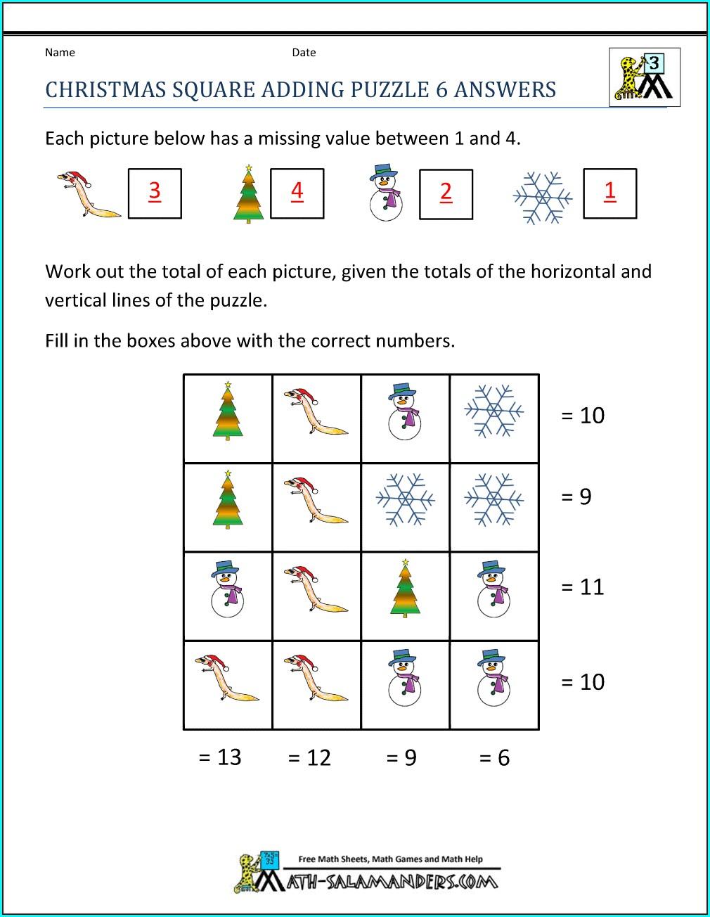 Merry Christmas Math Worksheet