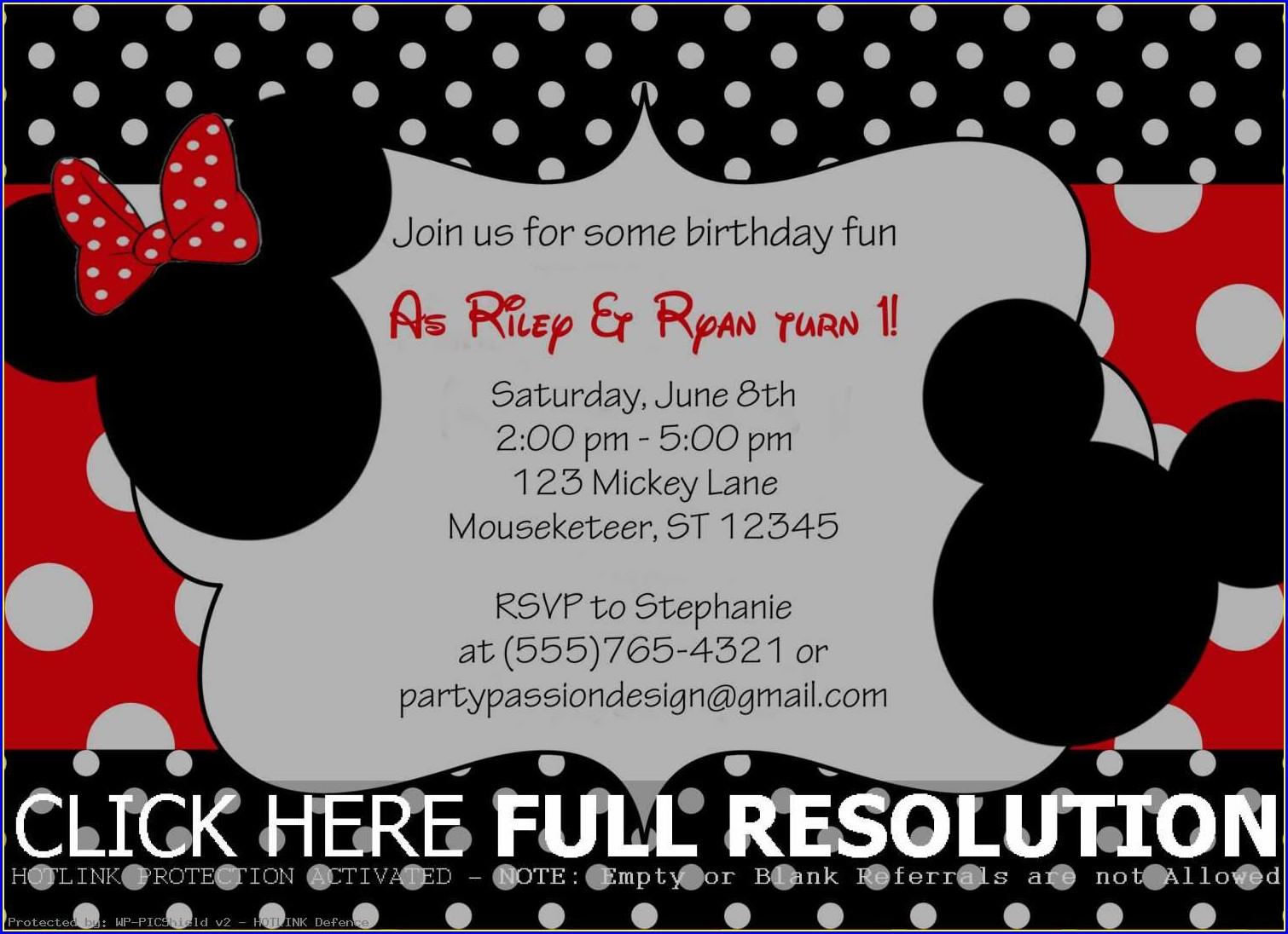 Mickey And Minnie Birthday Invitations