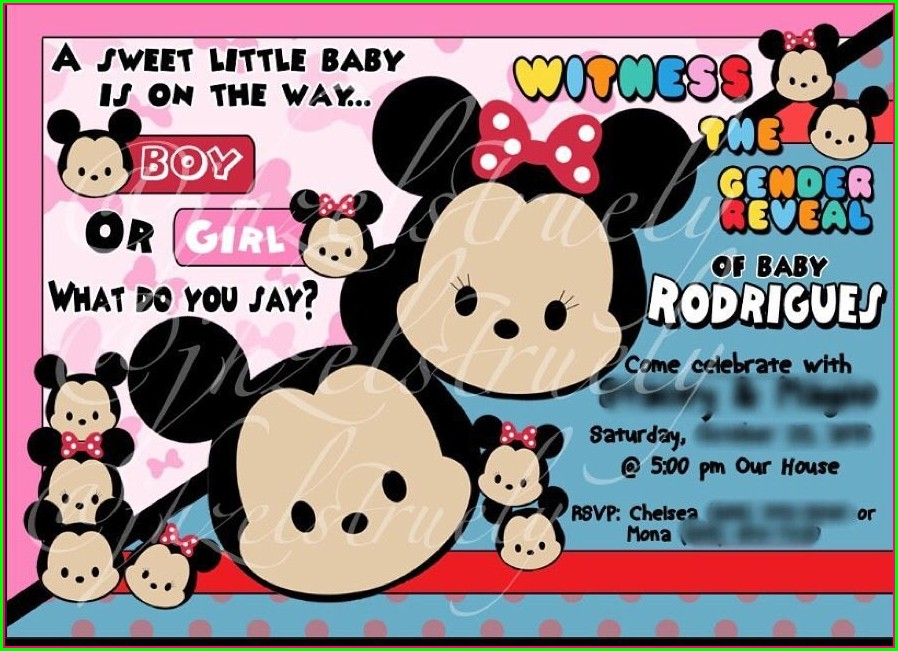 Mickey And Minnie Mouse Gender Reveal Invitations
