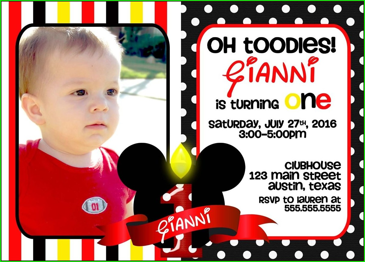 Mickey Mouse 1 Year Birthday Invitations