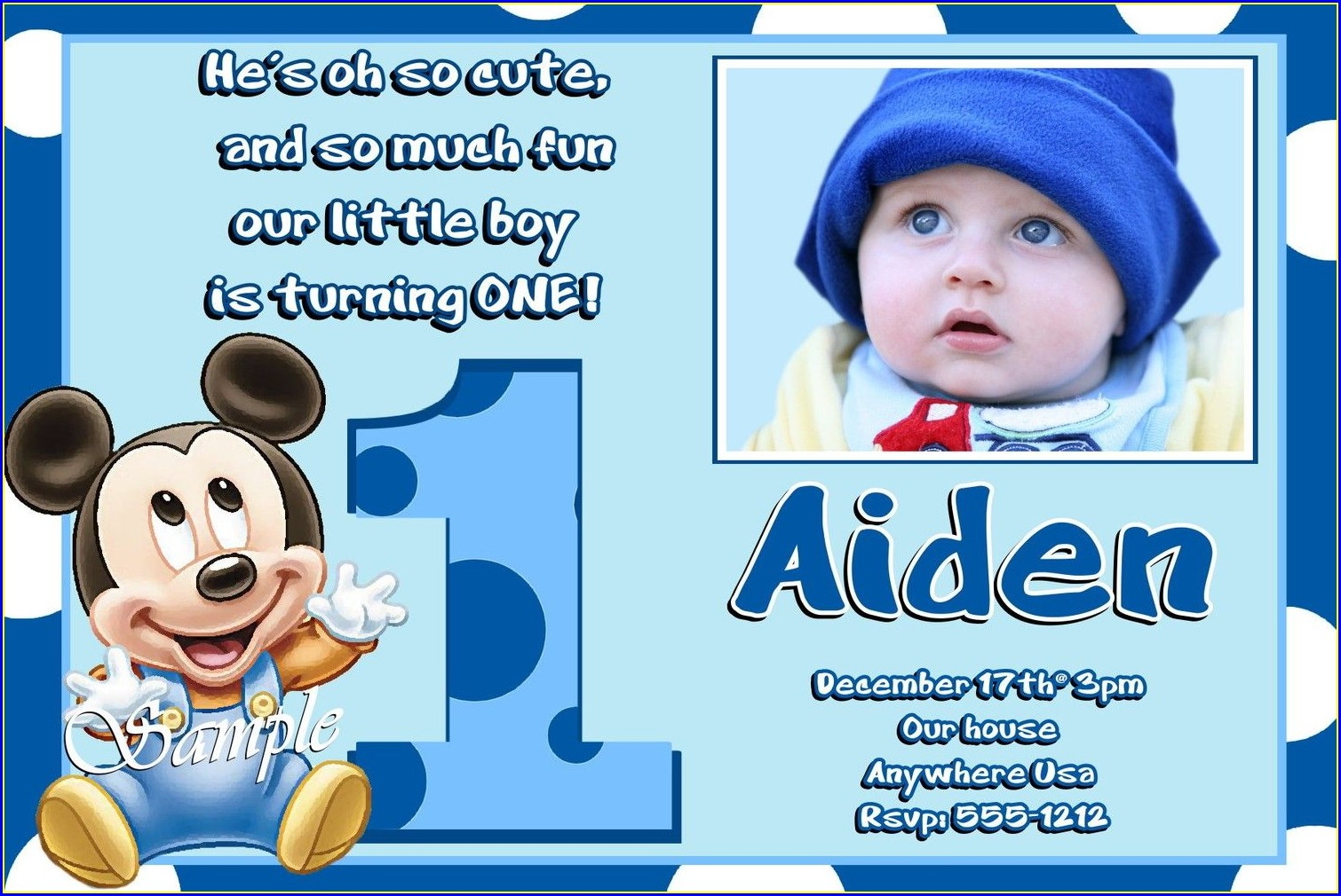 Mickey Mouse 1st Birthday Invitation Card For Baby Boy