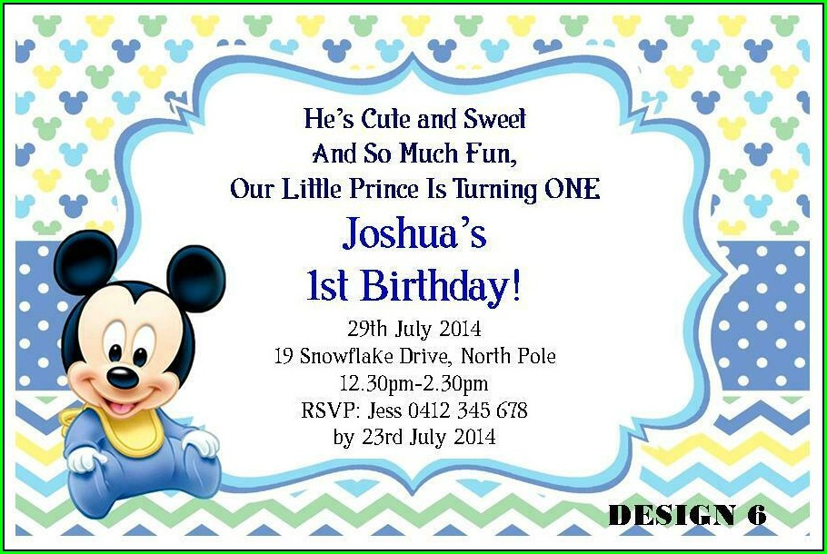 Mickey Mouse 1st Birthday Invitations Boy