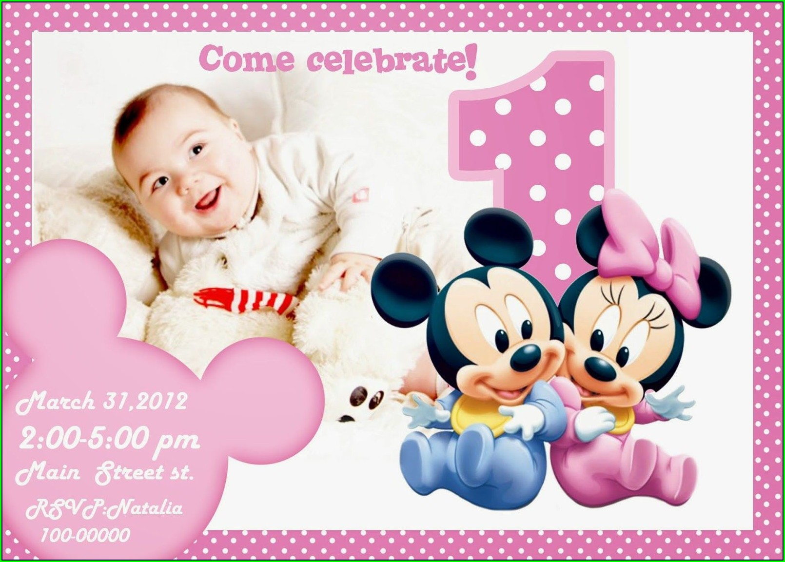 Mickey Mouse 1st Birthday Invitations Online