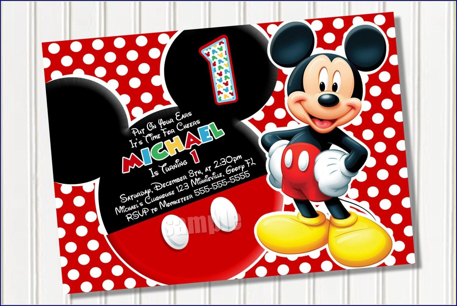Mickey Mouse Blank 1st Birthday Invitation Card