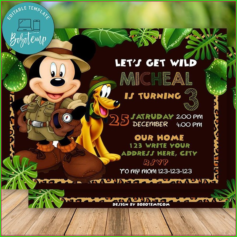 Mickey Mouse Safari Invitations
