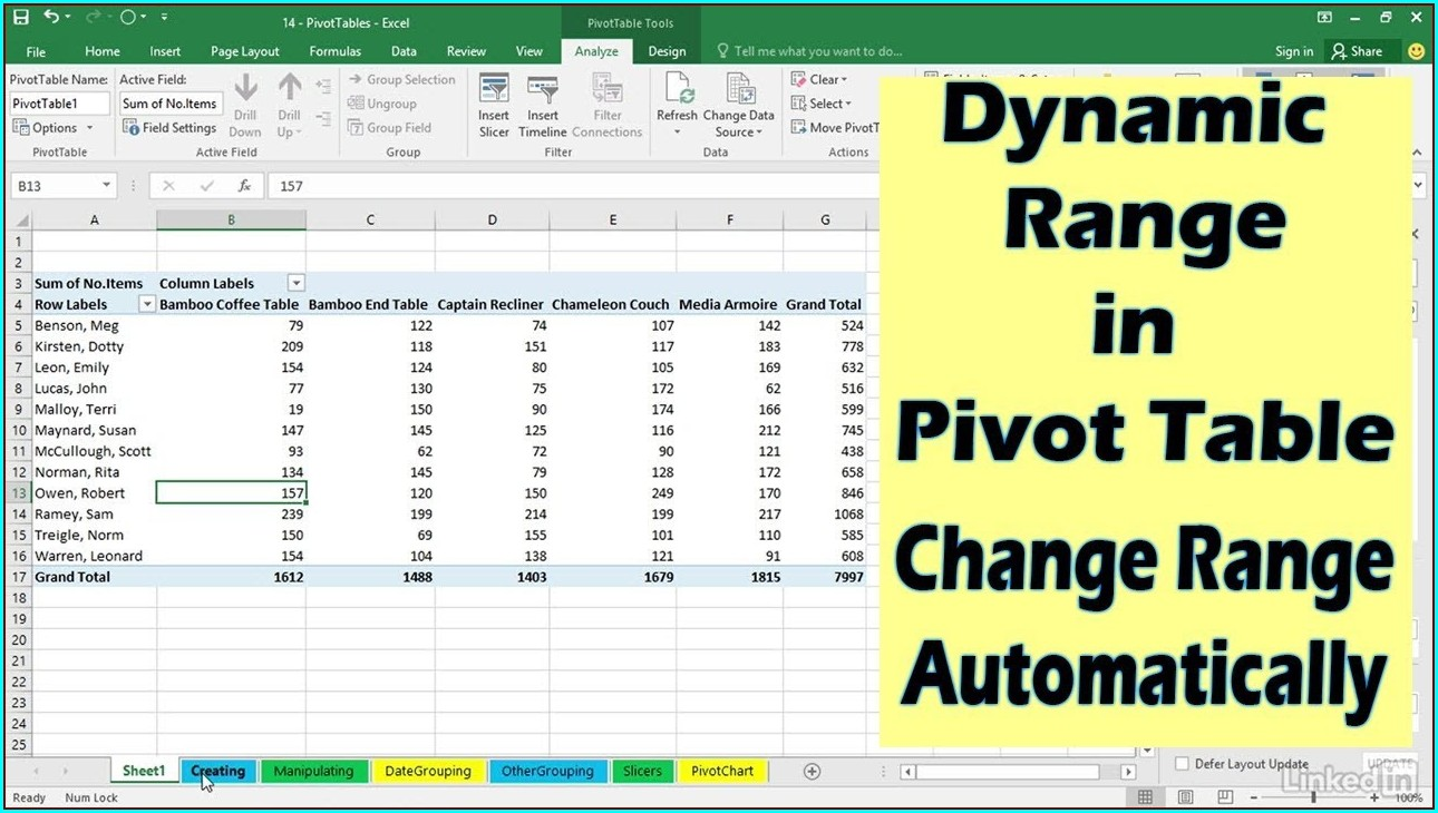 Microsoft Excel Pivot Table Not Updating