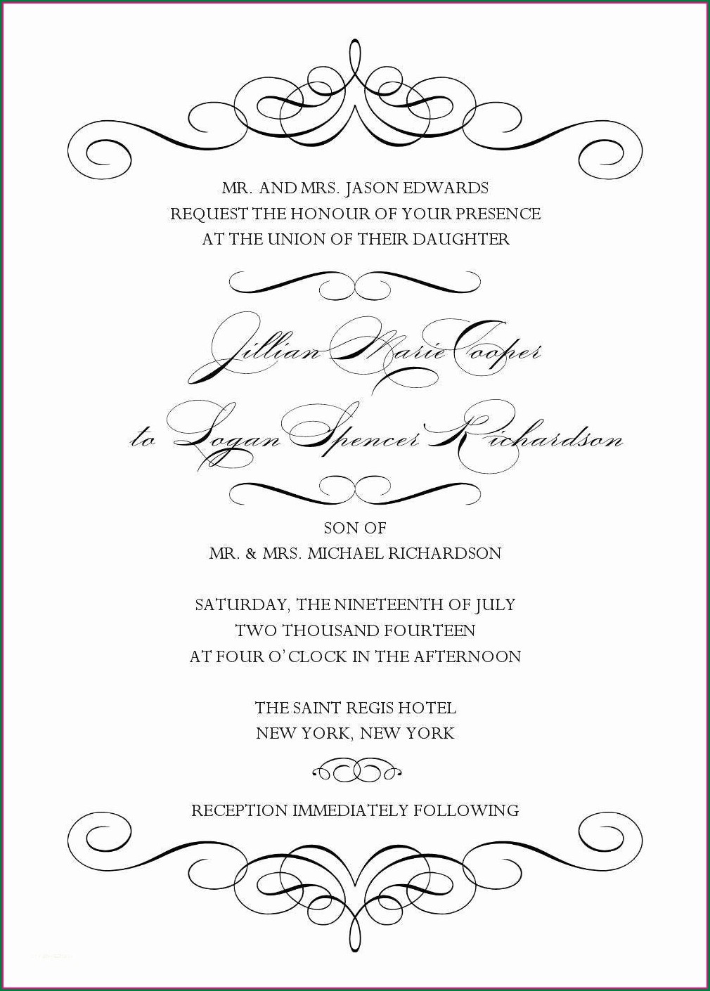 Microsoft Word Wedding Invitation Templates Blank