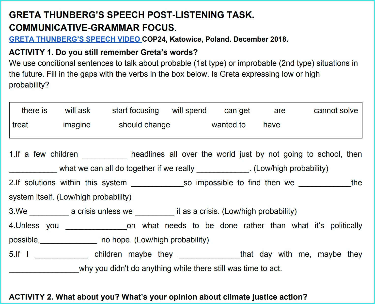 Middle School Grammar Worksheets With Answers