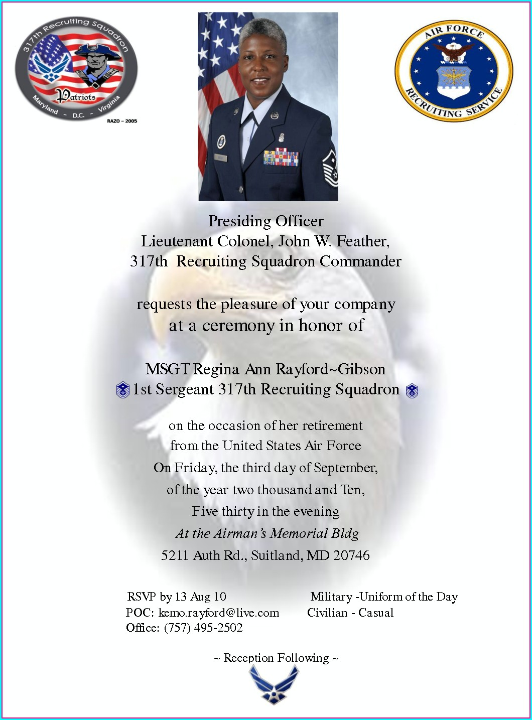 Military Retirement Invitation Wording