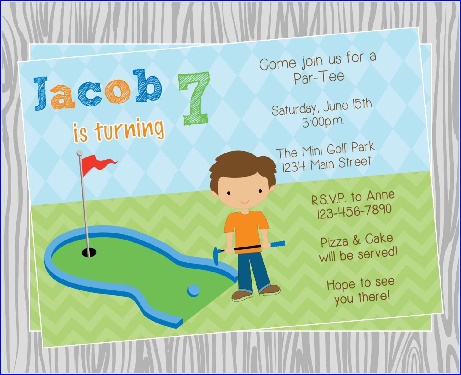 Mini Golf Birthday Invitations