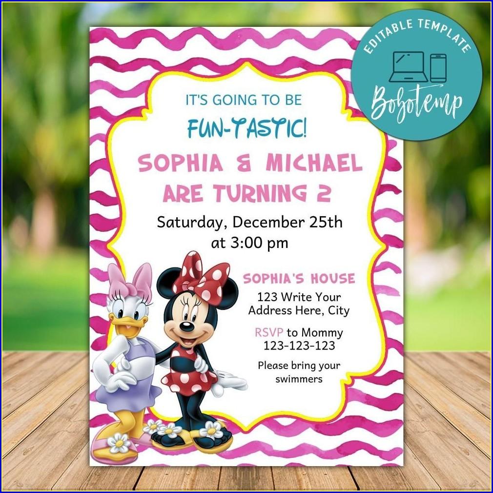Minnie And Daisy Birthday Invitations