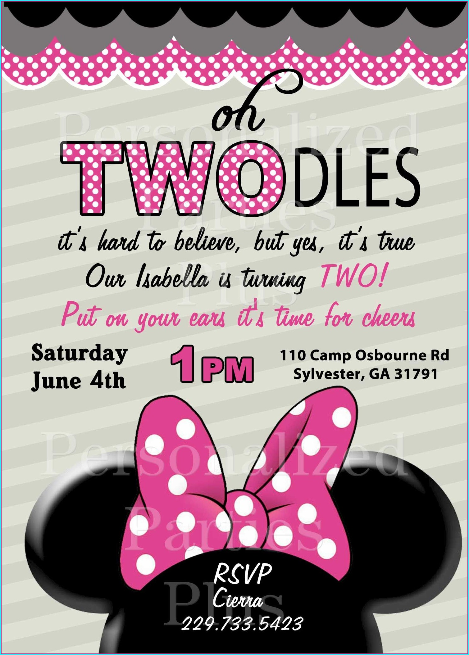 Minnie Mouse 2nd Birthday Invitations