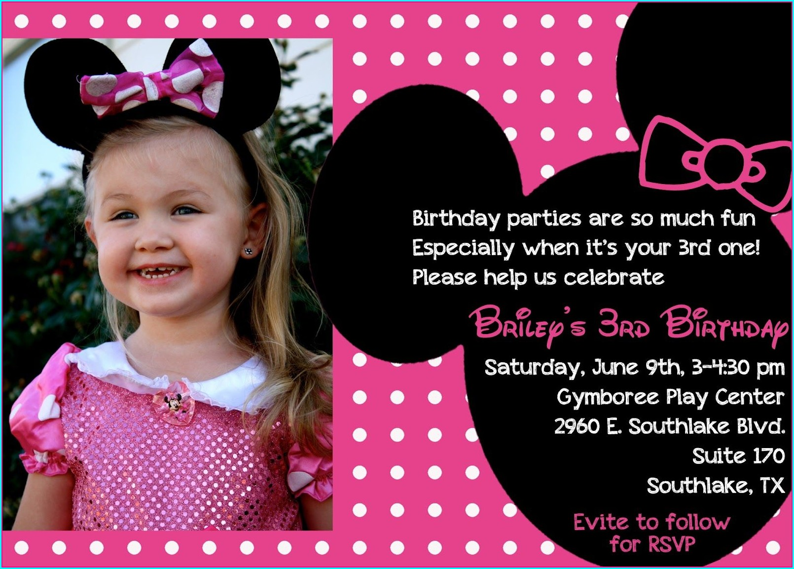 Minnie Mouse 3rd Birthday Invitations