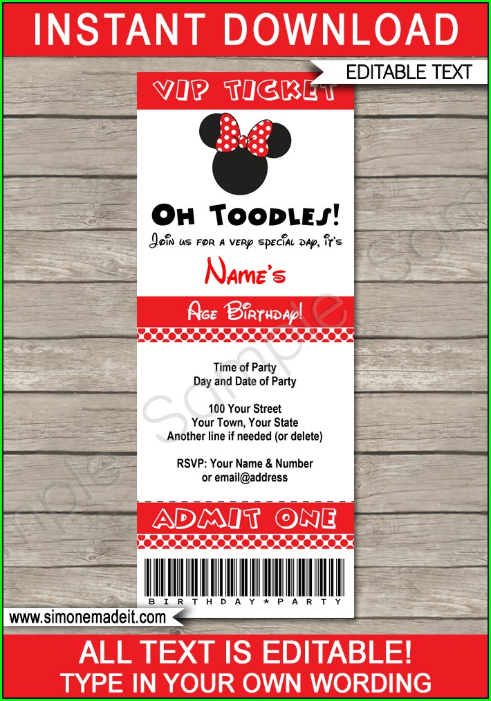 Minnie Mouse Invitation Template Red