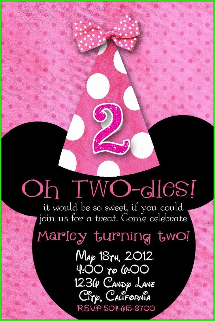 Minnie Mouse Personalized Birthday Invitations