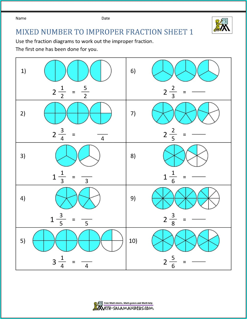 Mixed Numbers Visual Worksheet
