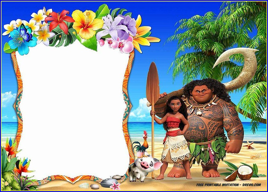 Moana Birthday Invitation Template Free