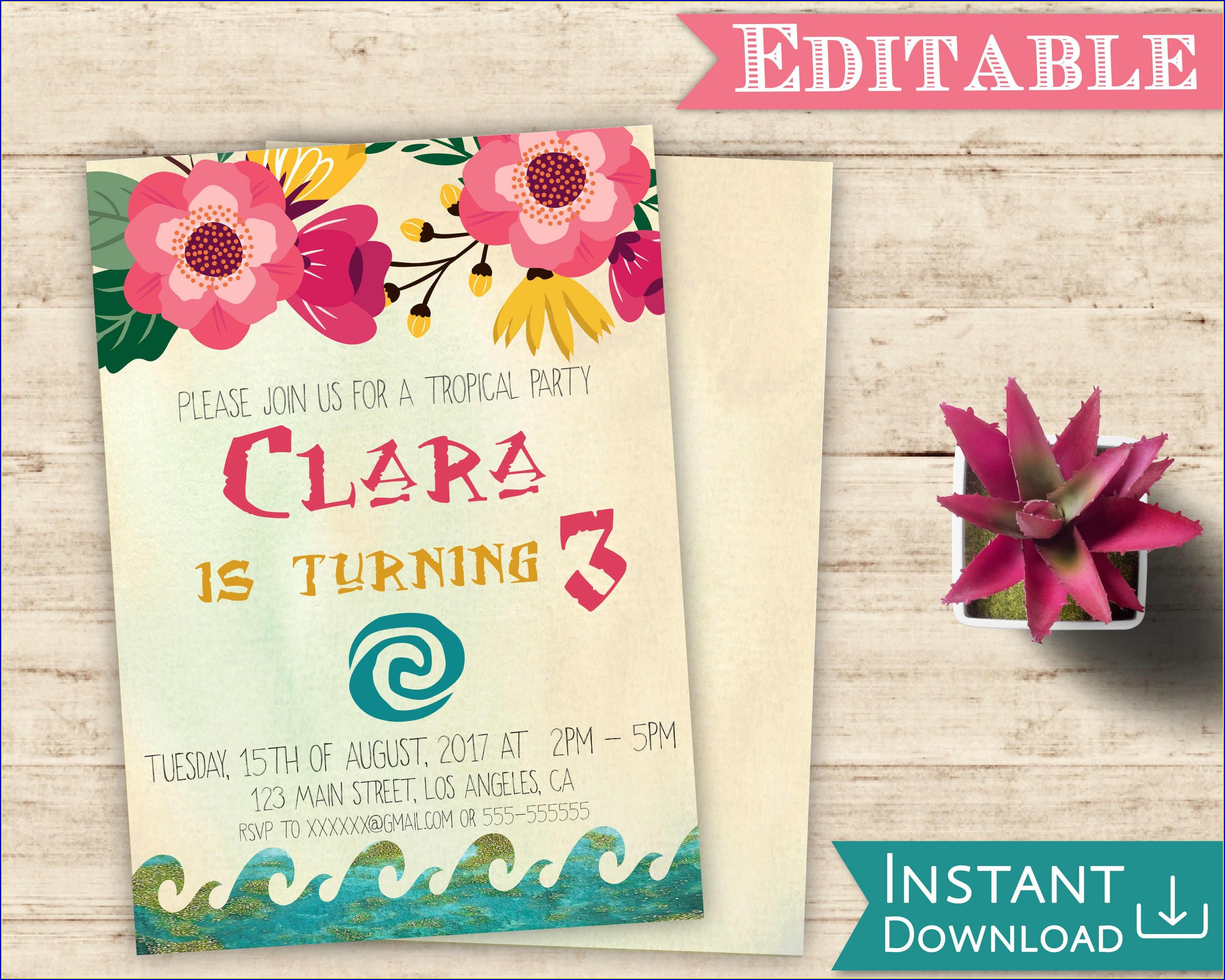 Moana Invitation Template Editable